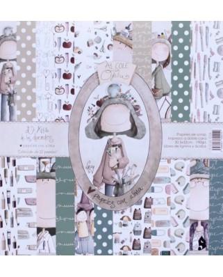 Colección de 12 papeles  Al Cole Con Ofelia