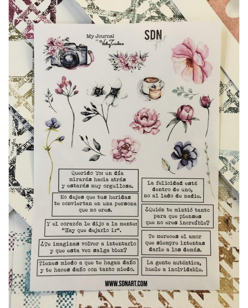 Hoja Adhesiva A5  MyJournal  Primavera Palabras y Flores